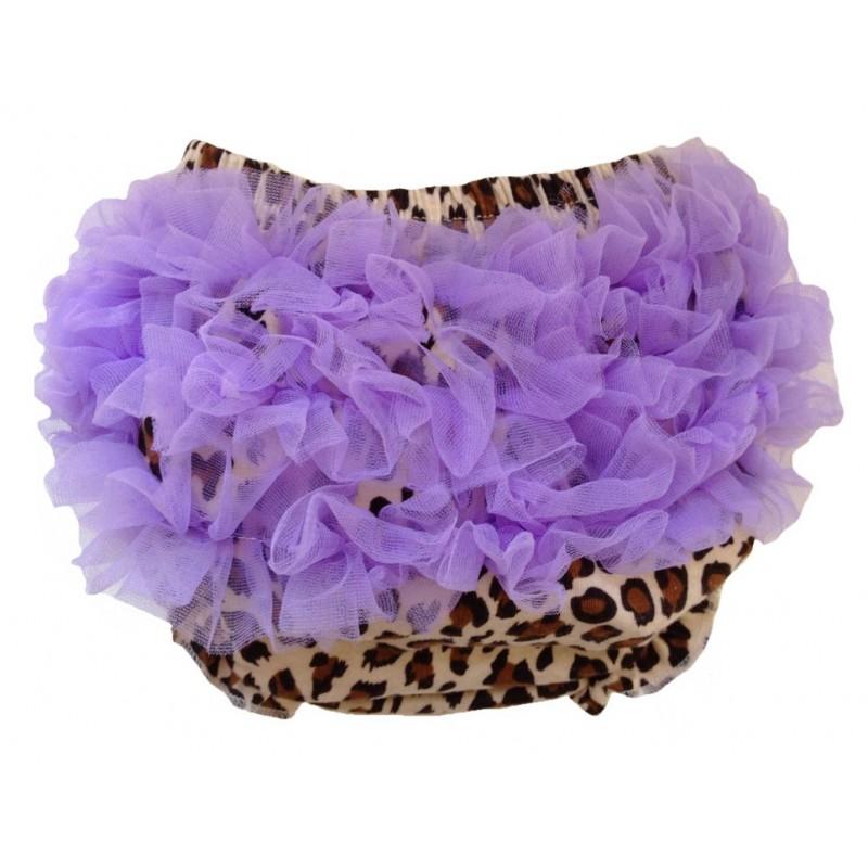 Jupe culotte bébé bloomer,cache couche,Modèle Léopard violet de 0 à 3 ans