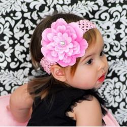 Bandeau+barrette bébé/fille, modèle Pétunia rose