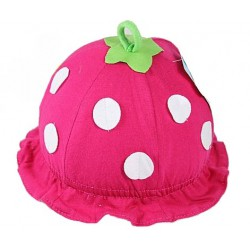 Bonnet bébé modèle fraise en coton 0-1 an