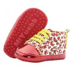 Chaussure basket souple montante bébé 0 à 12 mois, modèle Léopard Rouge