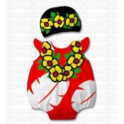 Ensemble déguisement 2 pièces bébé, modèle Hawaïenne de 0 à 2 ans