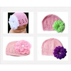 Bonnet au crochet 100% coton, modèle rose fleur pétunia au choix