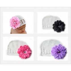 Bonnet au crochet 100% coton, couleur blanc+fleur pétunia au choix