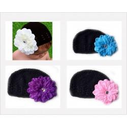 Bonnet au crochet 100% coton, couleur noir +barrette pétunia au choix
