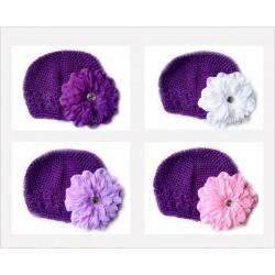 Bonnet au crochet 100% coton, couleur violet +barrette pétunia au choix