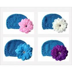 Bonnet au crochet 100% coton, couleur bleu turquoise +barrette pétunia au choix