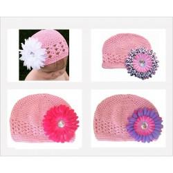 Bonnet au crochet 100% coton, couleur rose fleur marguerite au choix