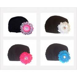 Bonnet au crochet 100% coton, couleur noir +barrette marguerite au choix
