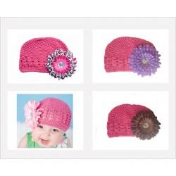 Bonnet au crochet 100% coton, couleur rose foncé +barrette marguerite au choix