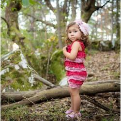 Salopette bébé en dentelle fraise/rose clair 0/3 ans