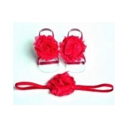 Ensemble couvres pieds+bandeau assortit modèle Rose simple