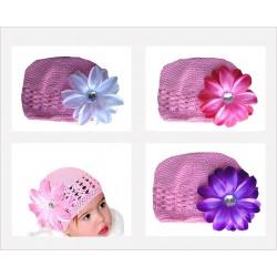 Bonnet au crochet 100% coton, couleur rose fleur tropicale au choix