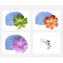 Bonnet au crochet 100% coton, couleur blanc+barrette tropicale au choix