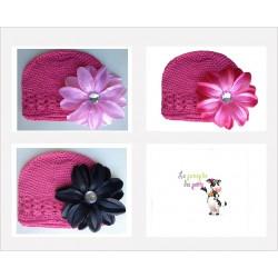 Bonnet au crochet 100% coton, couleur rose foncé+barrette tropicale au choix