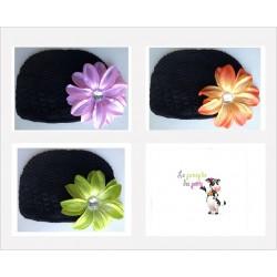 Bonnet au crochet 100% coton, couleur noir+barrette tropicale au choix