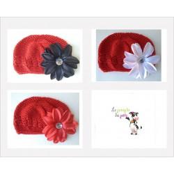 Bonnet au crochet 100% coton, couleur rouge+barrette tropicale au choix