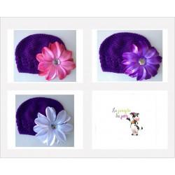Bonnet au crochet 100% coton, couleur violet+barrette tropicale au choix