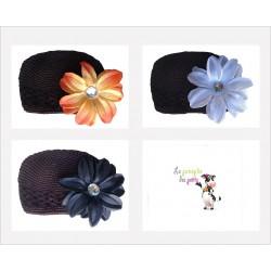 Bonnet au crochet 100% coton, couleur chocolat+barrette tropicale au choix