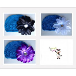 Bonnet au crochet 100% coton, couleur turquoise+barrette tropicale au choix