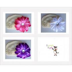 Bonnet au crochet 100% coton, couleur ivoire+barrette tropicale au choix