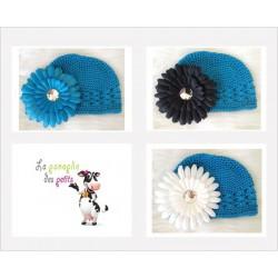 Bonnet au crochet 100% coton, couleur turquoise+barrette marguerite au choix