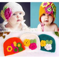 Bonnets bébé fille boule Rétro Fleur 0 - 2 ans, 3 couleurs