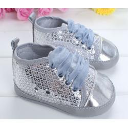 Chaussure souple basket montante bébé 0 à 12 mois, modèle strass argent