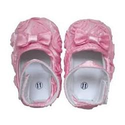 Chaussure souple bébé 6 à 18 mois, modèle ballerine soie Rose
