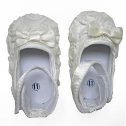 Chaussure souple bébé 6 à 18 mois, modèle ballerine soie Crême