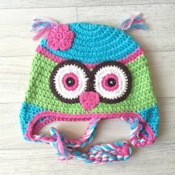 Bonnet chouette bébé en crochet naissance à 3 ans