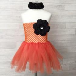 Ensemble robe tutu et son bandeau 0 à 5 ans modèle orange et chocolat