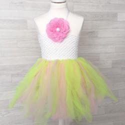 Ensemble robe tutu et sa fleur 0 à 5 ans modèle rose et jaune
