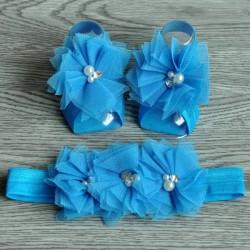 Ensemble couvres pieds+bandeau assortit modèle Triple mesh flowers