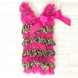 Salopette bébé en dentelle et satin modèle léopard fushia