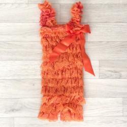 Salopette bébé en dentelle orange