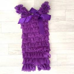 Salopette bébé en dentelle violette