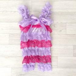 Salopette bébé en dentelle lilas/framboise