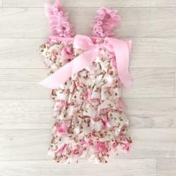 Salopette bébé en dentelle et satin modèle Total Flowers