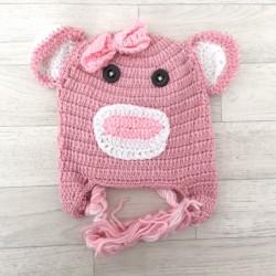 """Bonnet Monkey """"petites oreilles"""" au crochet 1 à 4 ans"""