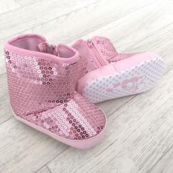 Bottes souples bébé,  Modèle paillettes rose