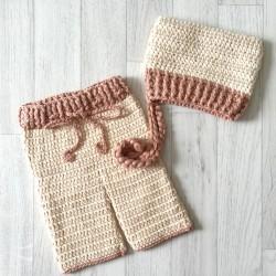 Set pantalon et béguin au crochet 0/3 mois