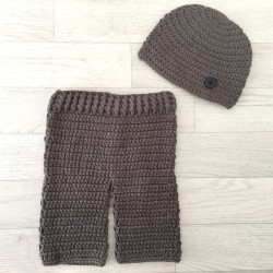 Set pantalon et bonnet au crochet 0/6 mois