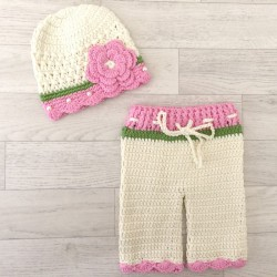 Set fille : pantalon et bonnet au crochet 0/3 mois