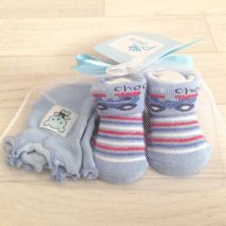 Set naissance, chaussettes+moufles