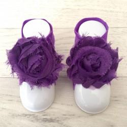 """Accéssoire, couvres pieds modèle """"Rose"""" violet"""