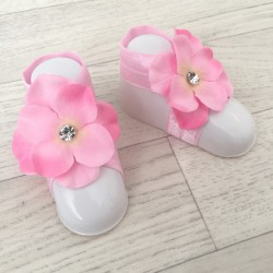 """Accéssoire, couvres pieds modèle """"Orchidée Strass"""" rose clair"""