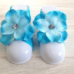 """Accéssoire, couvres pieds modèle """"Orchidée Strass"""" turquoise"""