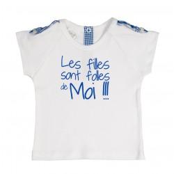 """Tee shirt vichy bleu """"Les filles sont folles de moi"""" thème Une journée à la campagne"""