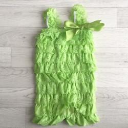 Salopette bébé en dentelle vert prairie