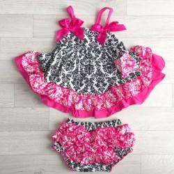 Ensemble bébé : robe + bloomer  0 à 3 ans modèle Baroque Fushia